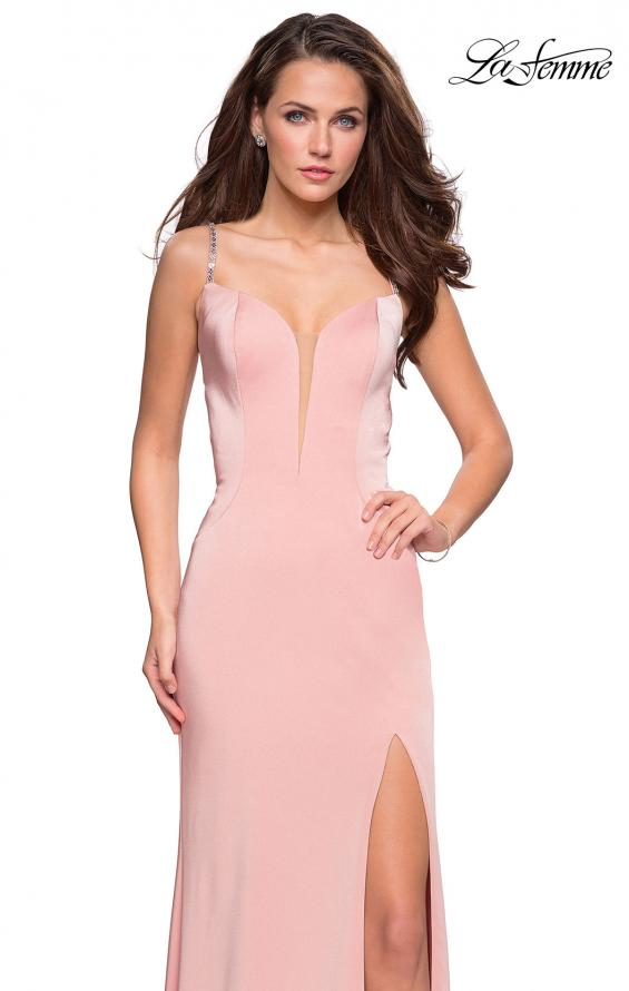 Picture of: Form Fitting Prom Dress with Tape Beaded Straps in Blush, Style: 27060, Detail Picture 2