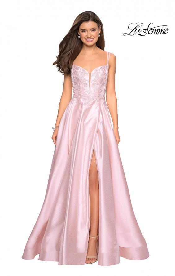 Picture of: Long Ball Gown with Lace and Rhinestone Bodice, Style: 27528, Detail Picture 2