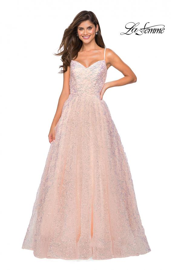 Picture of: Sweetheart Sequin Dress with Criss Cross Straps in Blush, Style: 27541, Detail Picture 2