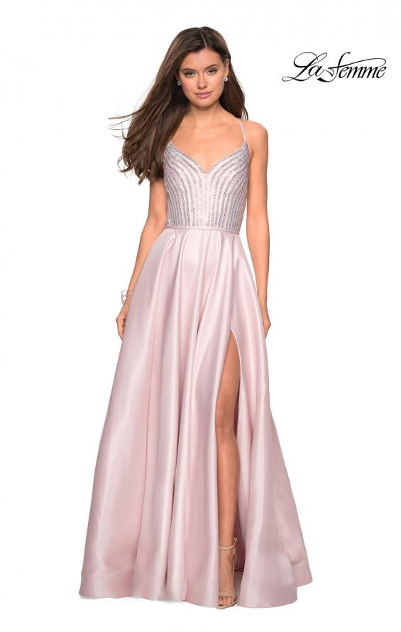 Picture of: Long Mikado Gown with Rhinestone Bodice and Slit in Blush, Style: 27634, Detail Picture 2