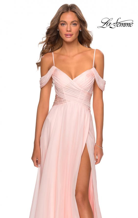 Picture of: Off the Shoulder Chiffon Dress with Scoop Back in Blush, Style: 28942, Detail Picture 2