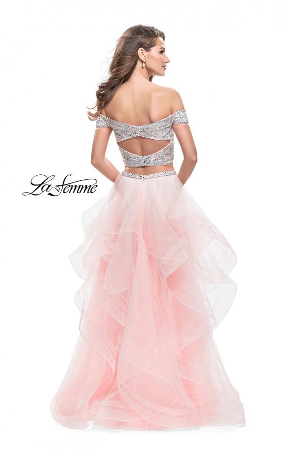Picture of: Off the Shoulder A-line Gown with Ruffle Tulle Skirt in Blush, Style: 26169, Detail Picture 3