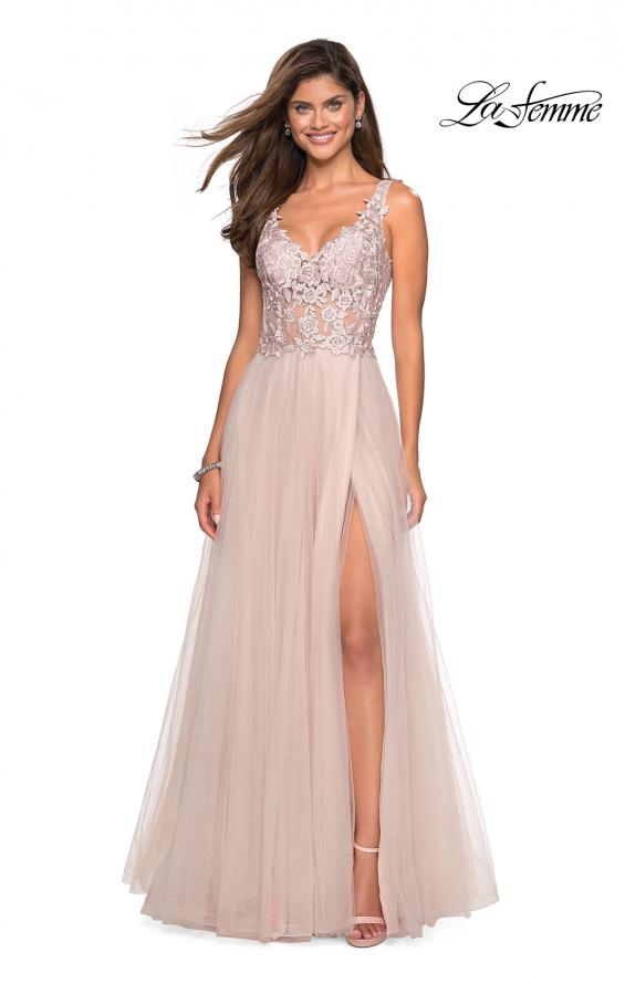 Picture of: Long Tulle Gown with Embellished Sheer Bodice, Style: 27574, Detail Picture 3