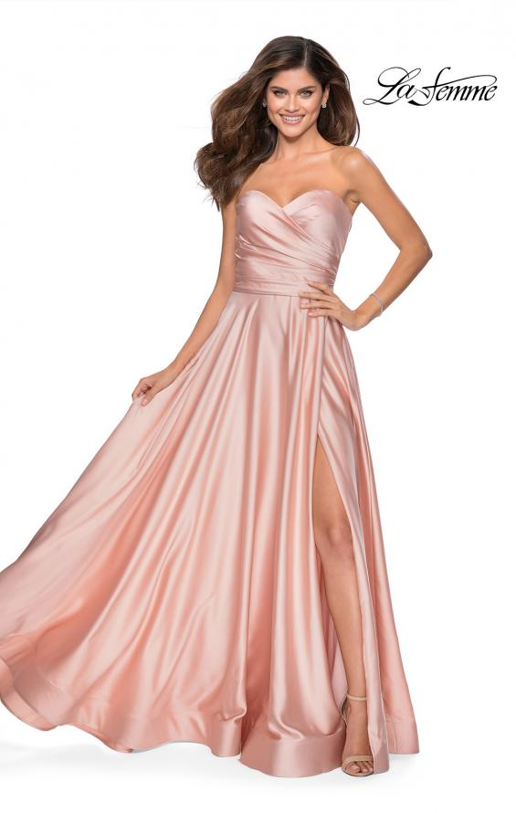 Picture of: Strapless Satin Gown with Pleated Bodice and Slit in Blush, Style: 28608, Detail Picture 3