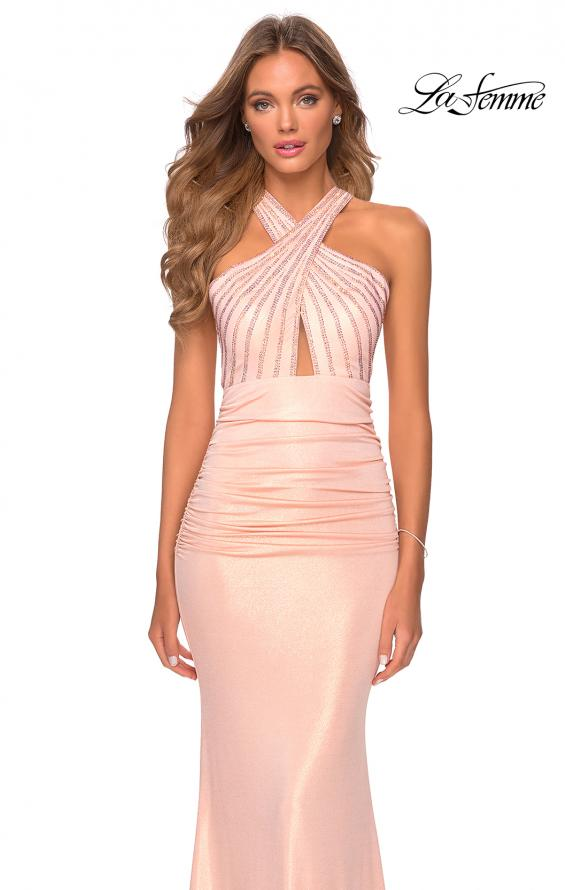 Picture of: Metallic Criss Cross Jersey Dress with Rhinestones in Blush, Style: 28745, Detail Picture 3