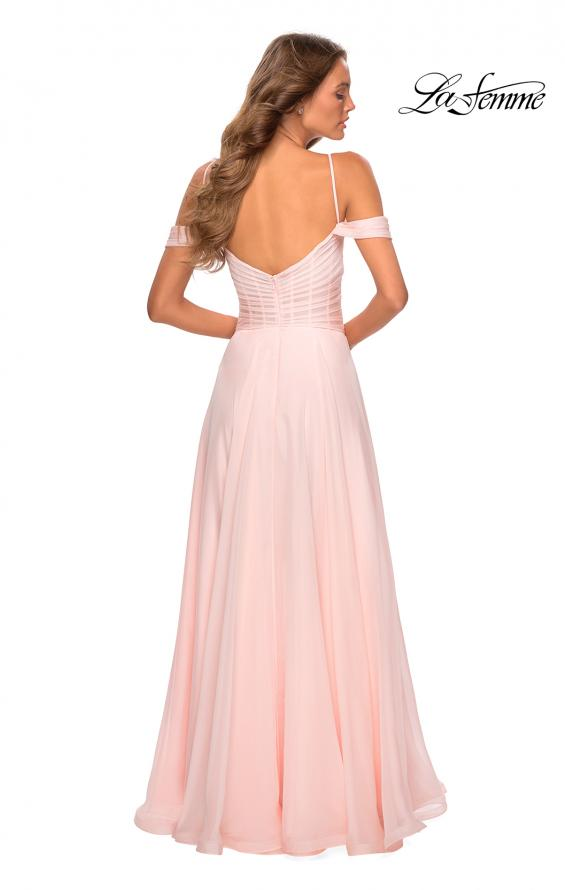 Picture of: Off the Shoulder Chiffon Dress with Scoop Back in Blush, Style: 28942, Detail Picture 3