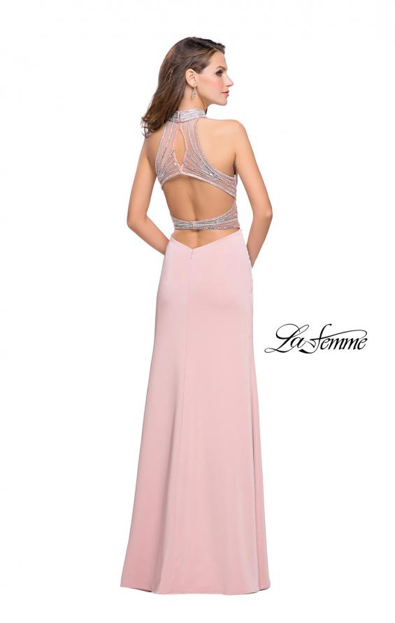 Picture of: Jersey Prom Gown with Metallic Beading and Leg Slit, Style: 25767, Detail Picture 4