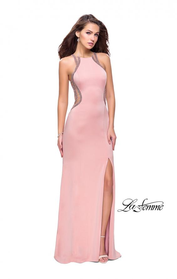 Picture of: Sheer Beaded Prom Dress with High Neck and Cut Outs, Style: 26060, Detail Picture 4