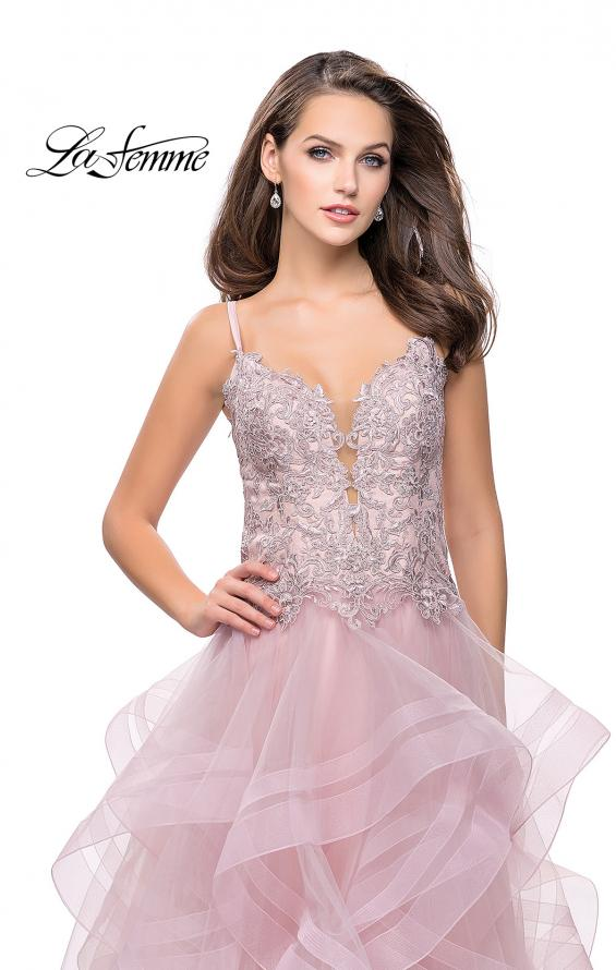 Picture of: Ball Gown with Tulle Skirt and Beaded Lace Bodice in Blush, Style: 26148, Detail Picture 2