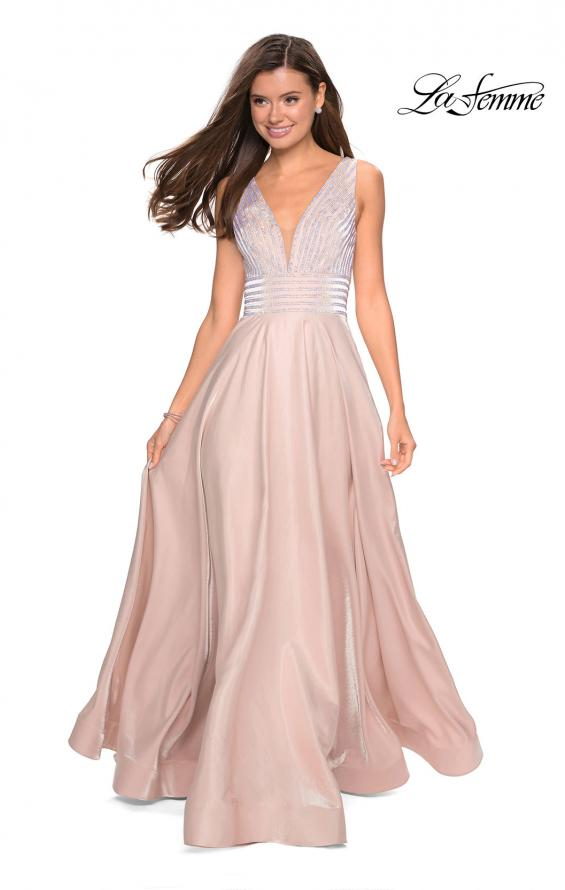 Picture of: Satin Prom Gown with beaded Bust and Pockets in Blush, Style: 27205, Detail Picture 4