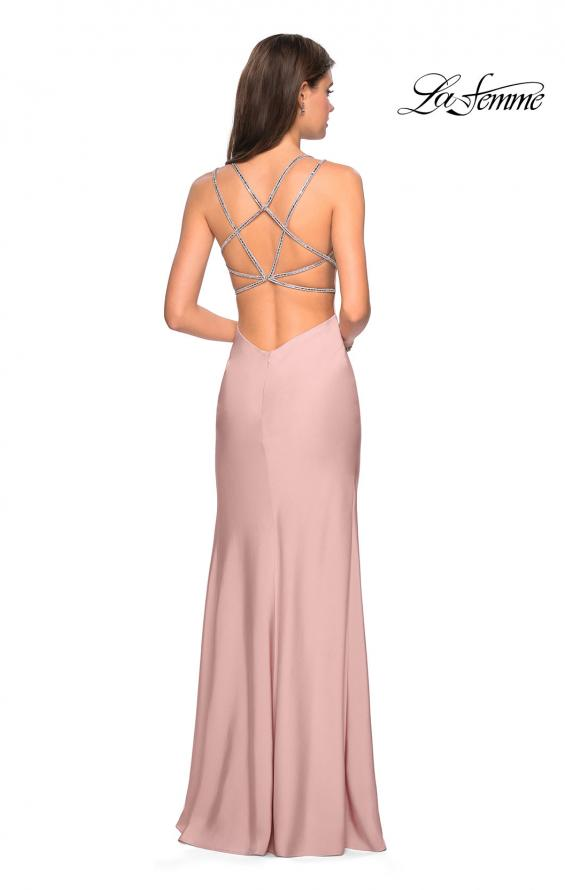 Picture of: Form Fitting Prom Dress with Slit and Beaded Straps in Blush, Style: 27519, Detail Picture 4
