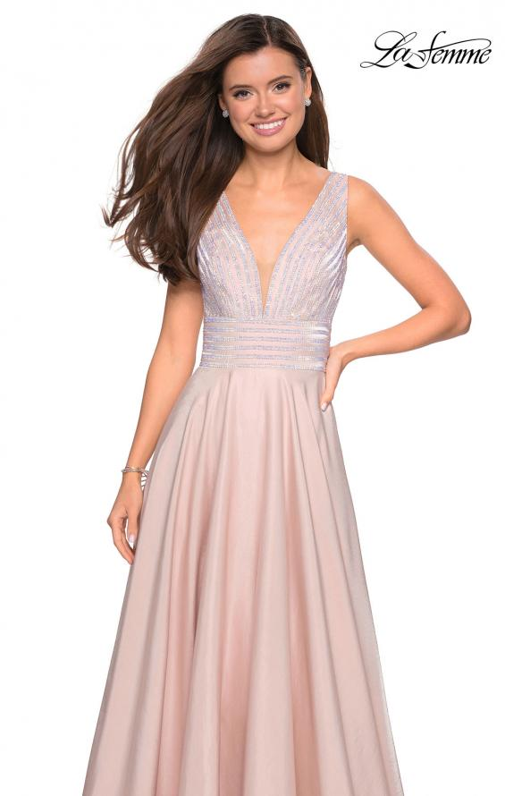 Picture of: Satin Prom Gown with beaded Bust and Pockets in Blush, Style: 27205, Detail Picture 5