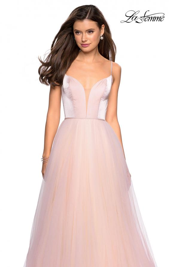 Picture of: Tulle evening Gown with Satin Bust and V Shaped Back in Blush, Style: 27485, Detail Picture 5