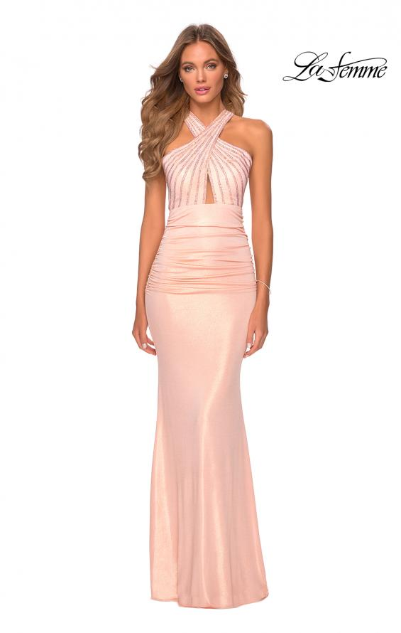 Picture of: Metallic Criss Cross Jersey Dress with Rhinestones in Blush, Style: 28745, Detail Picture 5