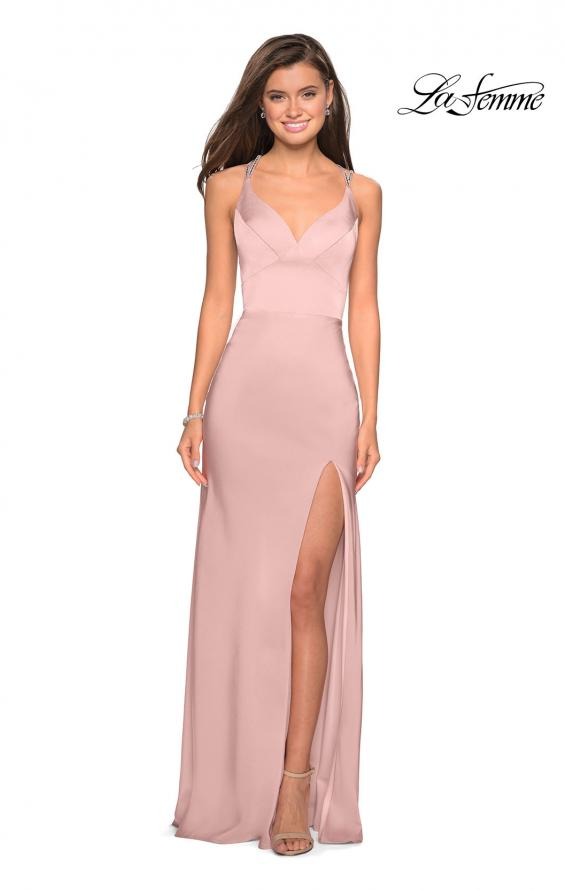 Picture of: Form Fitting Prom Dress with Slit and Beaded Straps in Blush, Style: 27519, Detail Picture 7