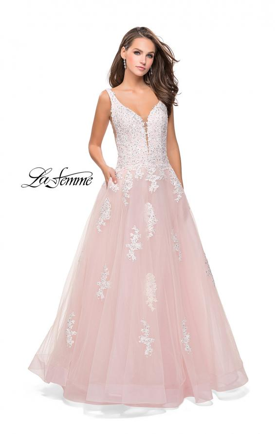 Picture of: Long Tulle Ball Gown with Lace Applique and Side Cut Outs, Style: 25624, Detail Picture 3