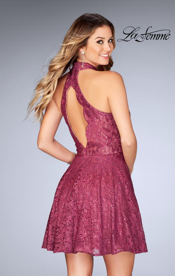 Picture of: Short Halter Top Dress with Scallop Keyhole Back in Boysenberry, Style: 25099, Back Picture