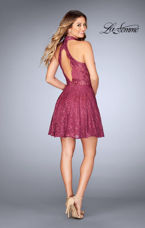 Picture of: Short Halter Top Dress with Scallop Keyhole Back in Boysenberry, Style: 25099, Detail Picture 3