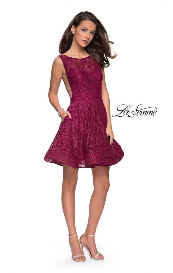Picture of: Lace Short Dress with Rhinestones and Pockets in Boysenberry, Style: 26616, Detail Picture 5