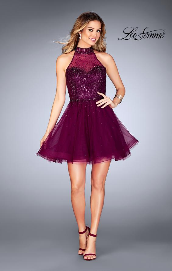 Picture of: Short Tulle Dress with High Neckline and Beading, Style: 25293, Detail Picture 7