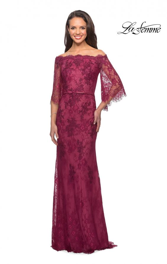Picture of: Long Lace Gown with Off the Shoulder Flare Sleeves in Boysenberry, Style: 25317, Main Picture