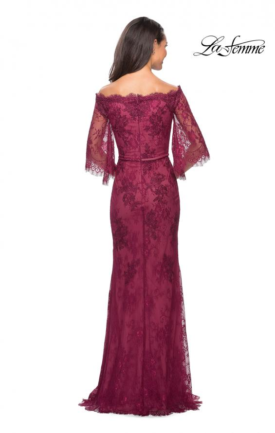 Picture of: Long Lace Gown with Off the Shoulder Flare Sleeves in Boysenberry, Style: 25317, Back Picture