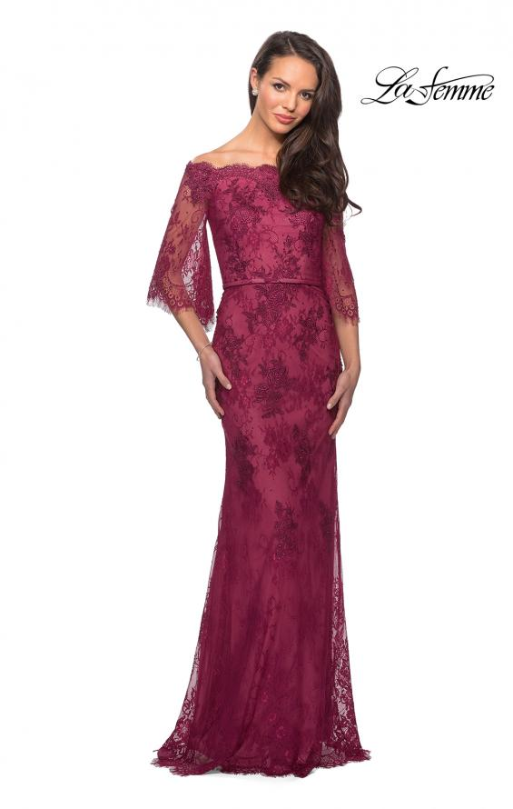 Picture of: Long Lace Gown with Off the Shoulder Flare Sleeves in Boysenberry, Style: 25317, Detail Picture 1