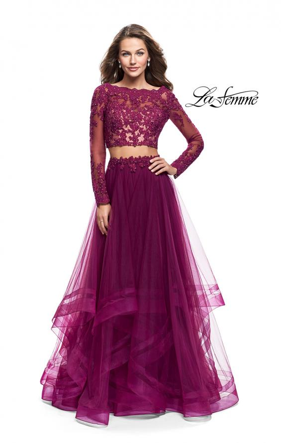 Picture of: Long Two Piece Prom Dress with Tulle Skirt and Lace Top, Style: 25300, Main Picture