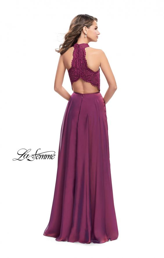 Picture of: Long A Line Chiffon Dress with Lace Up Neckline, Style: 25347, Back Picture