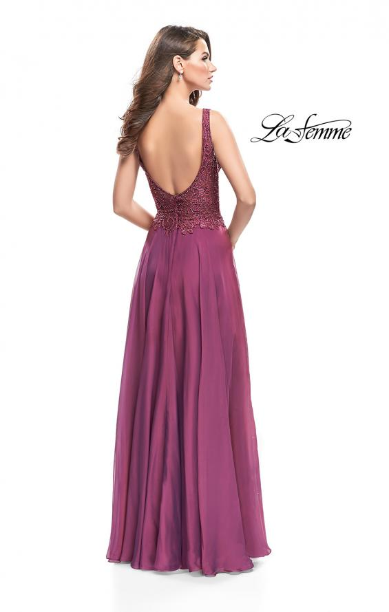 Picture of: Long Evening Gown with Chiffon Skirt and Scoop Open Back in Boysenberry, Style: 25513, Back Picture