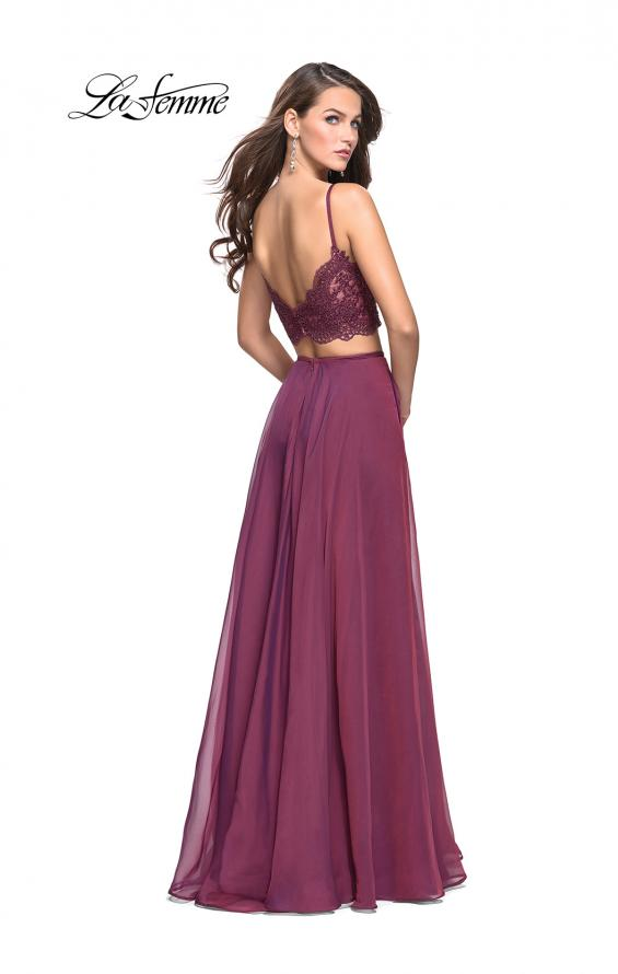 Picture of: Two Piece Gown with Beaded Lace Bodice and A-line Skirt in Boysenberry, Style: 25830, Back Picture