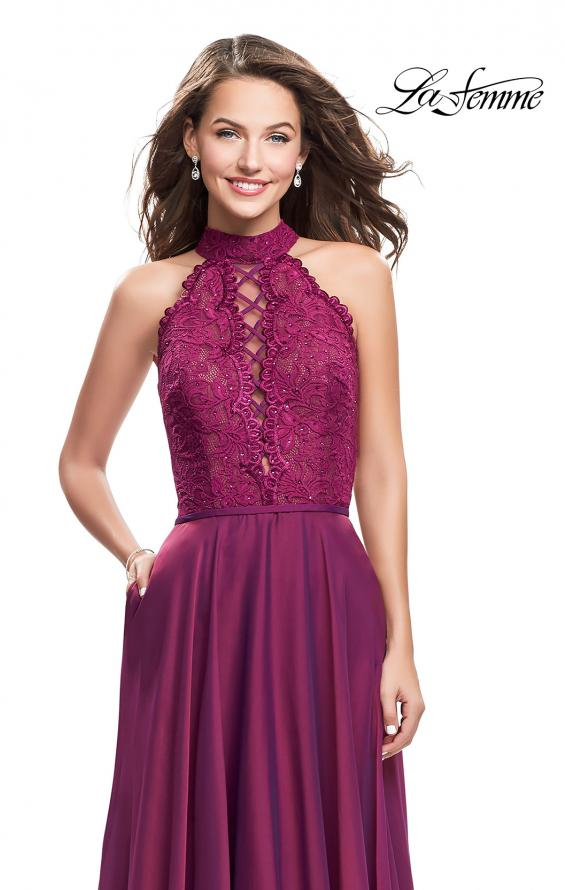 Picture of: Long A Line Chiffon Dress with Lace Up Neckline, Style: 25347, Detail Picture 1