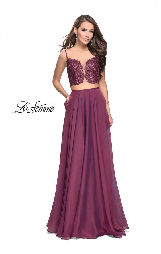 Picture of: Two Piece Gown with Beaded Lace Bodice and A-line Skirt in Boysenberry, Style: 25830, Detail Picture 2