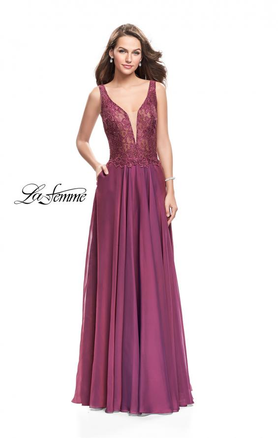 Picture of: Long Evening Gown with Chiffon Skirt and Scoop Open Back in Boysenberry, Style: 25513, Detail Picture 3