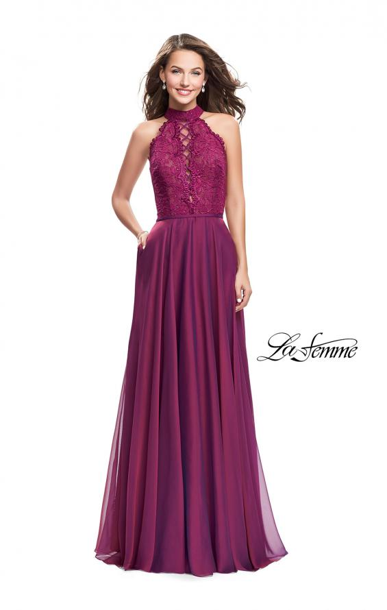 Picture of: Long A Line Chiffon Dress with Lace Up Neckline, Style: 25347, Detail Picture 4