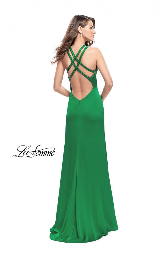 Picture of: Satin Prom Gown with Beaded Straps and Open Back, Style: 25906, Back Picture