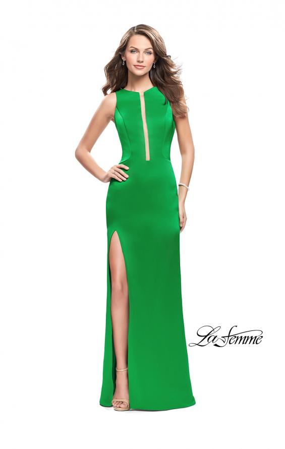 Picture of: Long Satin prom Dress with Plunging Neckline and Slit in Bright Emerald, Style: 26235, Detail Picture 1