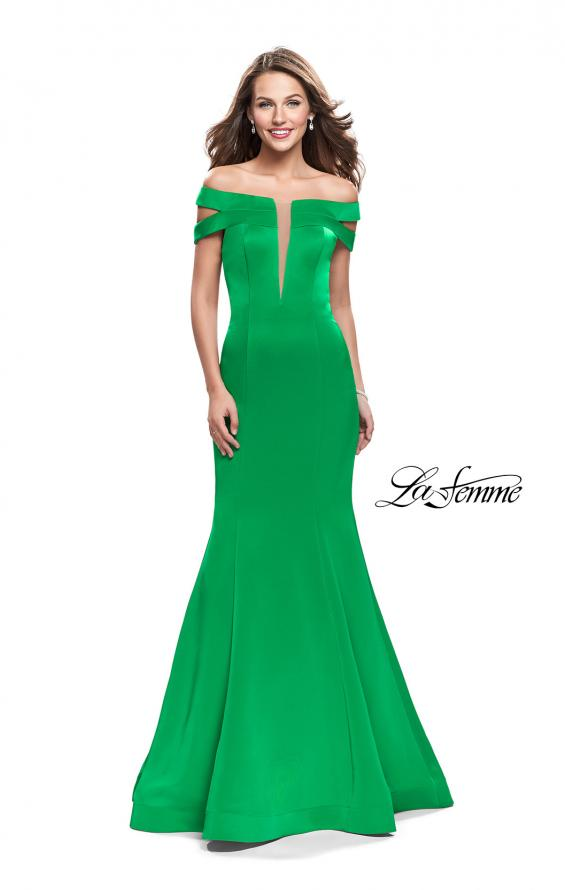 Picture of: Satin Off the Shoulder Mermaid Prom Dress with V Neck in Bright Emerald, Style: 25903, Detail Picture 2