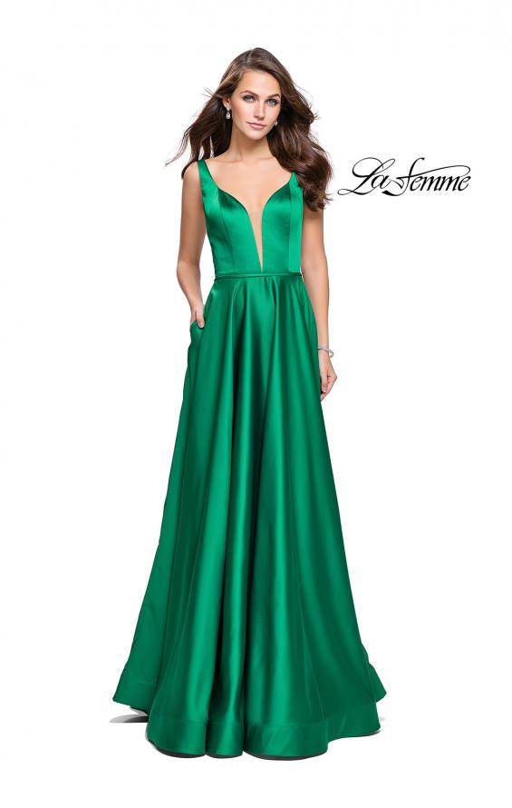 Picture of: Satin A line Prom Dress with Deep V Back in Birght Emerald, Style: 25455, Detail Picture 3