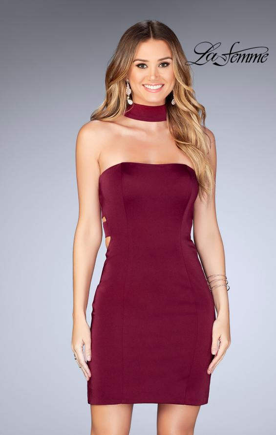 Picture of: Tight Jersey Homecoming Dress with Attached Choker, Style: 25062, Main Picture