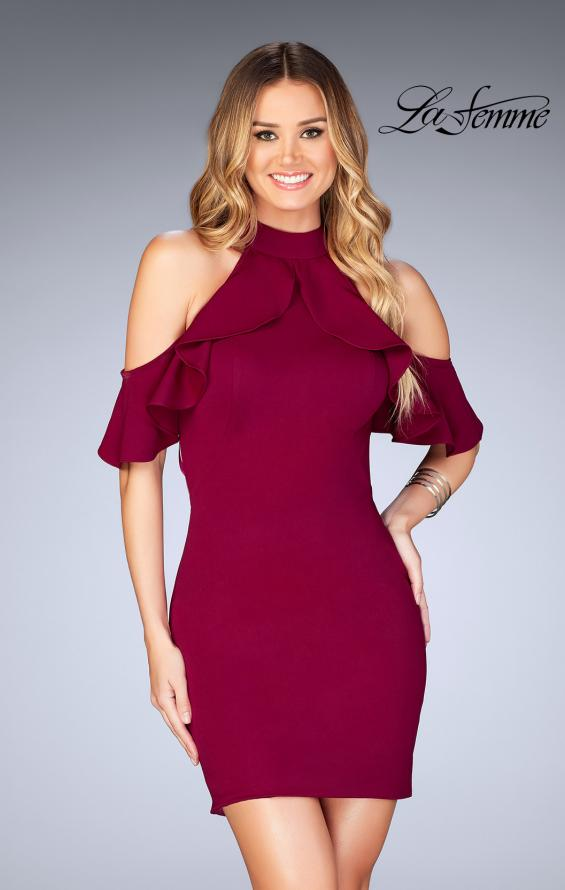 Picture of: Ruffle Halter Top Dress with Tight Jersey Skirt, Style: 25147, Main Picture