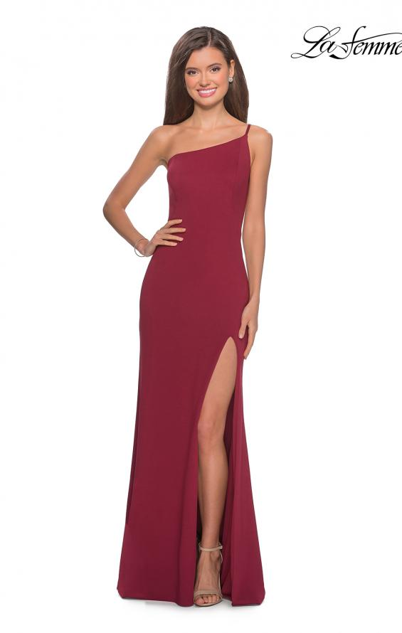 Picture of: One Shoulder Long Jersey Homecoming Dress in Burgundy, Style: 28176, Detail Picture 9