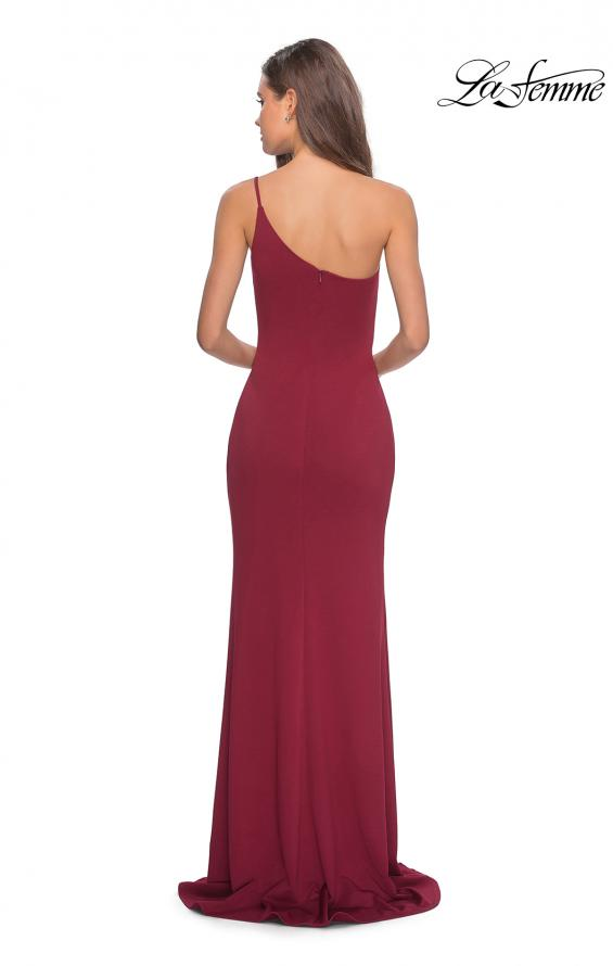 Picture of: One Shoulder Long Jersey Homecoming Dress in Burgundy, Style: 28176, Detail Picture 10