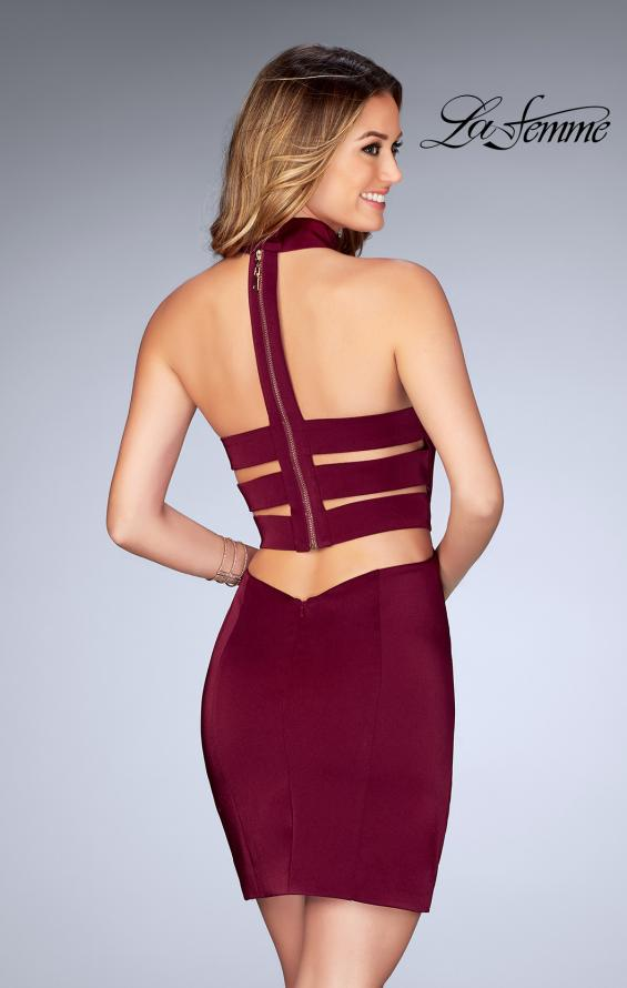 Picture of: Tight Jersey Homecoming Dress with Attached Choker, Style: 25062, Back Picture