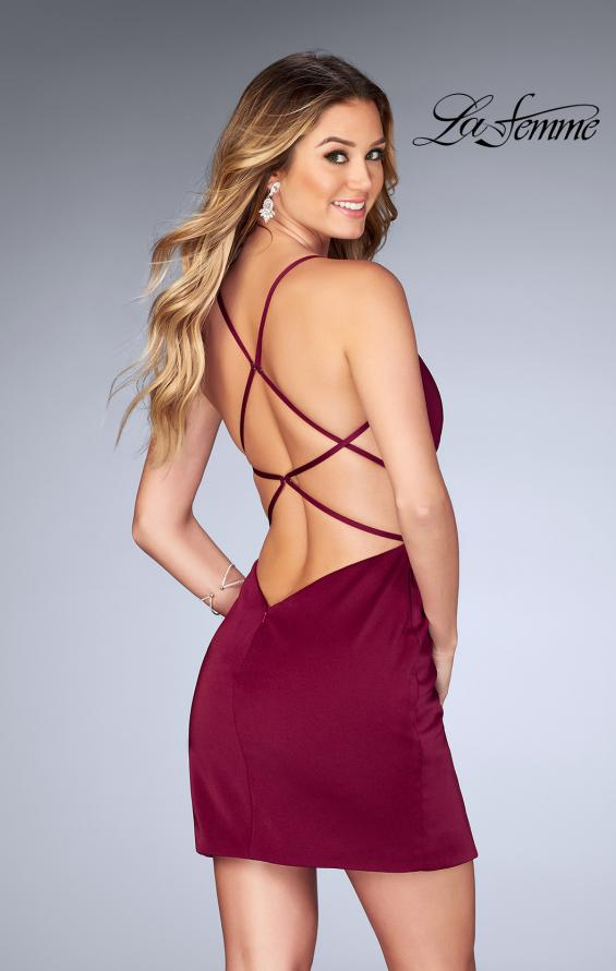 Picture of: Gathered Jersey Short Dress with Strappy Back, Style: 25127, Back Picture