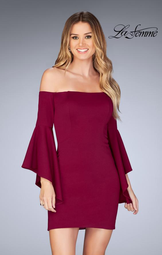 Picture of: Off the Shoulder Ruffle Sleeve Homecoming Dress in Burgundy, Style: 25033, Detail Picture 1
