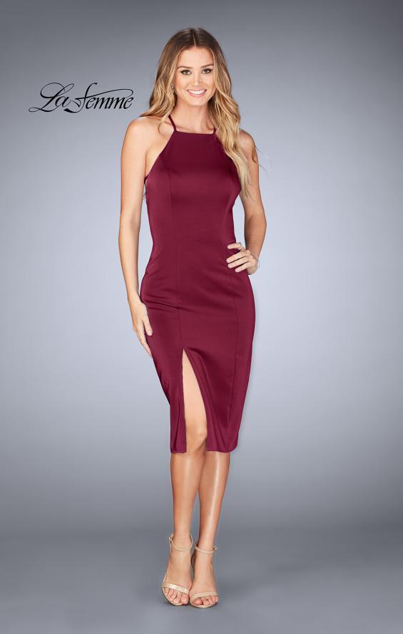 Picture of: Knee Length Jersey Evening Dress with Front Slit in Burgundy, Style: 25083, Detail Picture 1