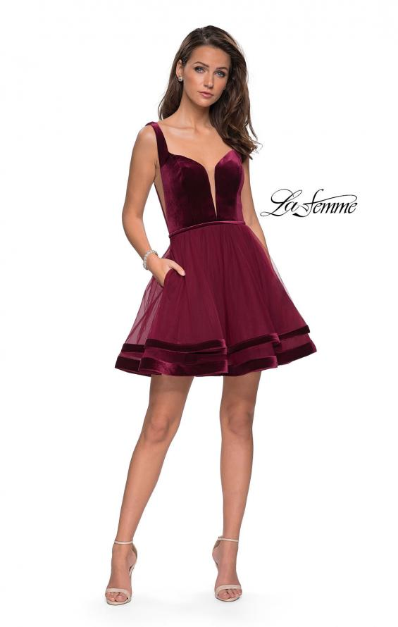 Picture of: Velvet and Tulle Two Piece Set with Pockets and Open Back in Burgundy, Style: 26701, Detail Picture 1