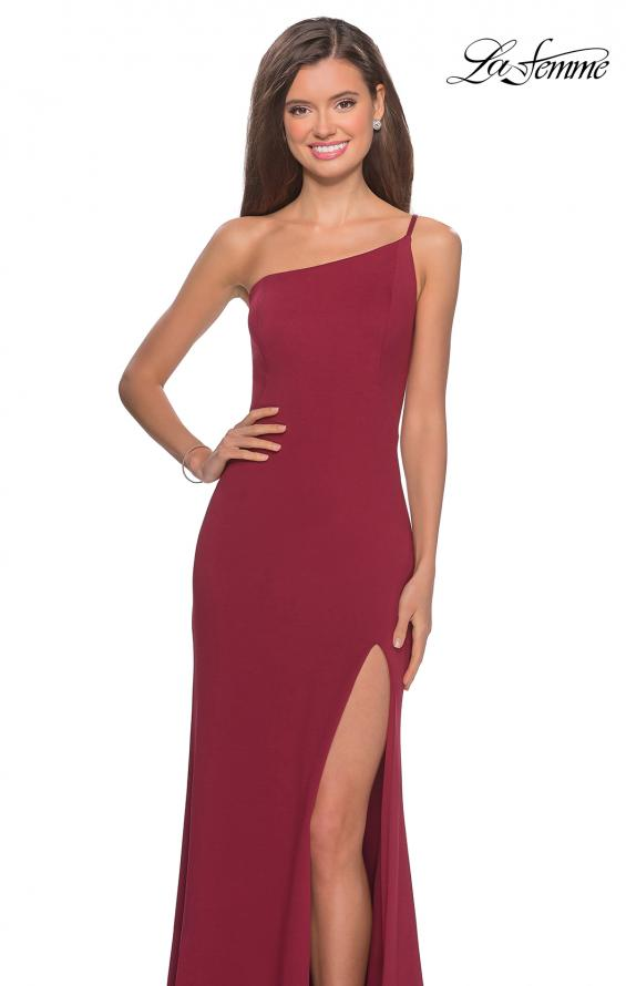 Picture of: One Shoulder Long Jersey Homecoming Dress in Burgundy, Style: 28176, Detail Picture 1