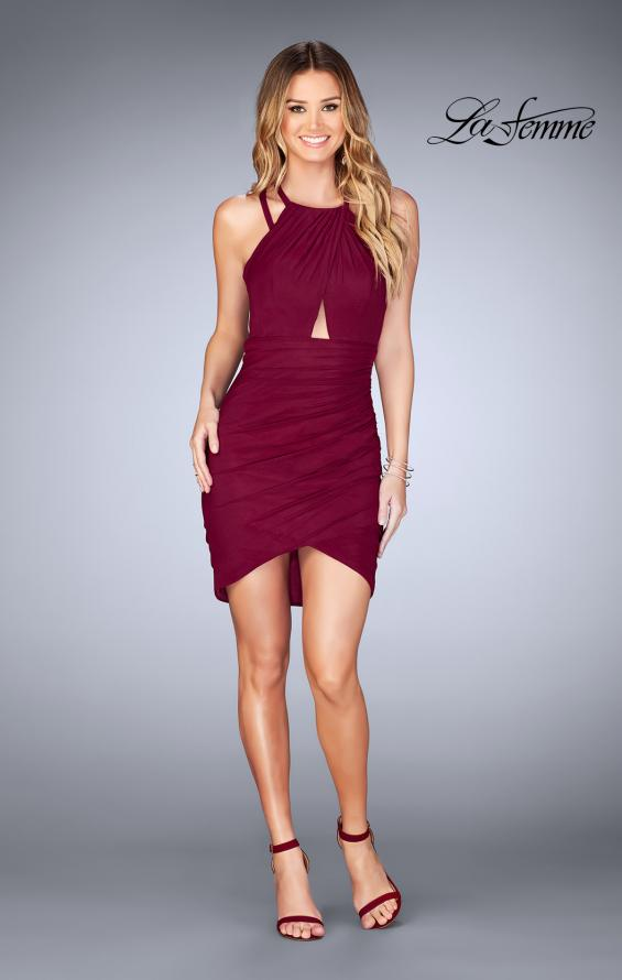 Picture of: Gathered Jersey Short Dress with Key Hole Back, Style: 25109, Detail Picture 2
